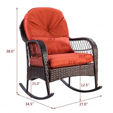 Outdoor Wicker Rocking Chair W / Cushion