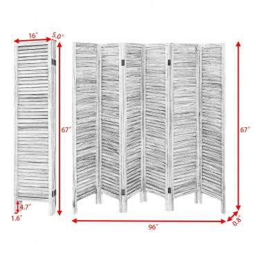 6 Panels Classic Venetian Wooden Slat Room Screen