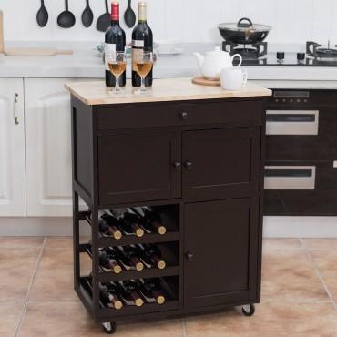 Modern Rolling Storage Kitchen Cart With Drawer