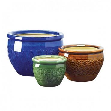 Jewel Tone Flower Pot Trio