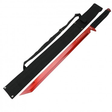 26 in. Red Ninja Sword Stainless Steel with Sheath