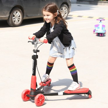 Height Adjustable Foldable Kids Scooter With 4 Light Up Wheels
