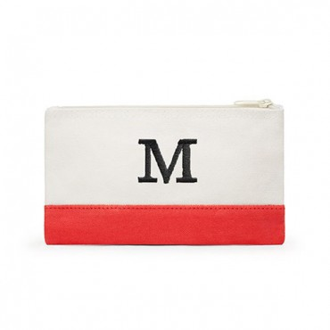 Small Personalized Color block Makeup Bag - Coral / Soft Red