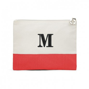 Large Personalized Color block Makeup Bag - Coral / Soft Red