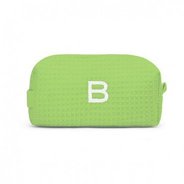 Personalized Small Cotton Waffle Makeup Bag - Lime Green