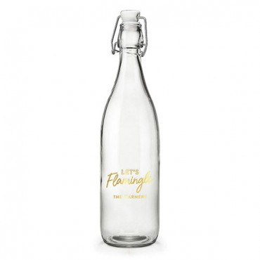 Vintage Water Bottle - Let's Flamingle Foiled Print