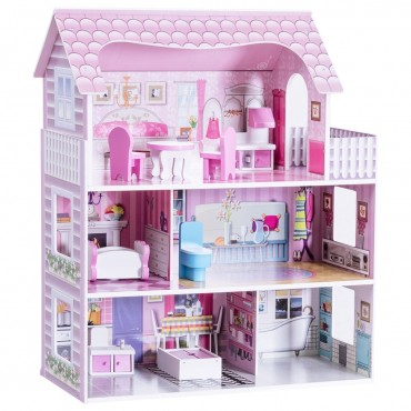 28 In. Pink Dollhouse W / Furniture