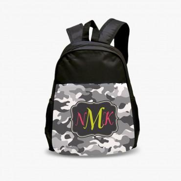 Kids Monogram Black Camouflage Backpack