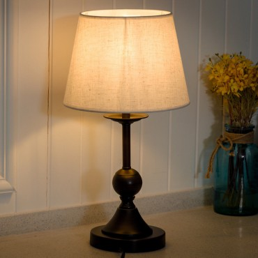10 In. Antique Brass Bedside Table Lamp With LED Bulb