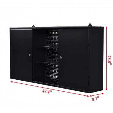Wall Mount Hanging Tool Box Storage Cabinet Lock Home Office Garage Black