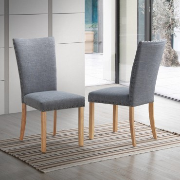 Set Of 2 Armless Fabric Upholstered Nailhead Dining Chairs