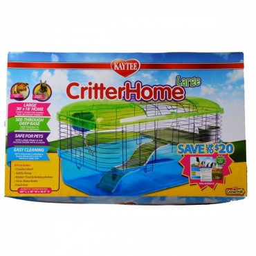 Kaytee Critter Home Small Pet Habitat - Large - 30 in. L x 18 in. W x 16.5 in. H