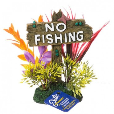 Exotic Environments No Fishing Sign - Large - 4.5 in. L x 3 in. W x 6.25 in. H - 2 Pieces