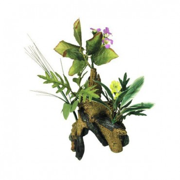 Blue Ribbon Chestnut with Plants Aquarium Ornament - Large - 7.5 in. L x 6 in. W x 10 in. H