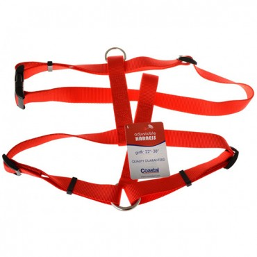 Tuff Collar Nylon Adjustable Harness - Red - Large - Girth Size 22 in. - 38 in.