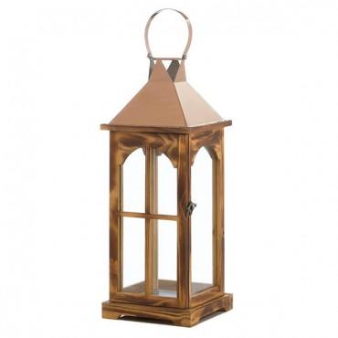 Large Rose Gold Wooden Lantern