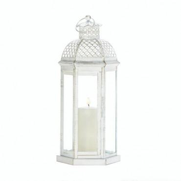 Large White Moroccan Lattice Lantern