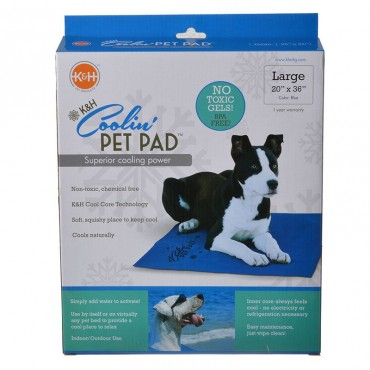 K and H Coolin Pet Pad - Blue - Large 20 in. Long x 36 in. Wide