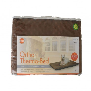 K and H Pet Products Ortho Thermo Heated Pet Bed - Chocolate Brown - Large 24 L x 37 W x 3 H