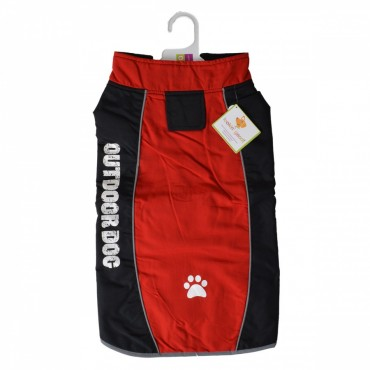 Fashion Pet Outdoor Dog All Weather Jacket - Red - Large - Fits 19 - 24 Neck to Tail