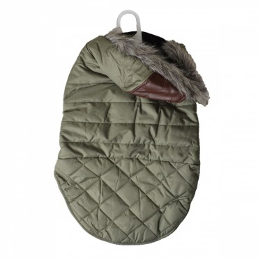Fashion Pet Outdoor Dog Leather Detail Dog Coat - Olive Green - Large - Fits 19 -24 Neck to Tail