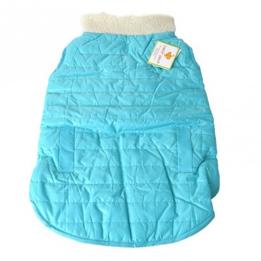 Lookin Good Reversible Puffy Dog Coat - Blue - Large - Fits 19 -24 Neck to Tail