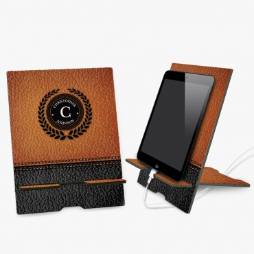 Leather Background Personalized Book and Ipad Stand