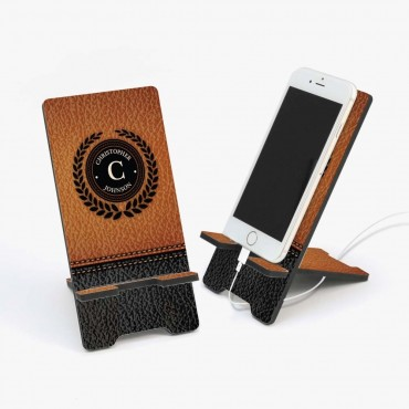 Leather Design Background Personalized Cell Phone Stand