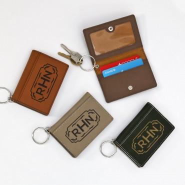 Leatherette Monogram Keychain ID Holder