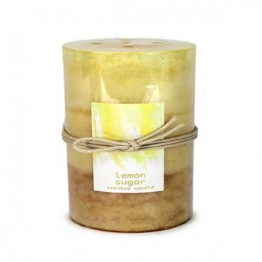 Lemon Sugar Pillar Candle 3X6