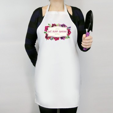 Life Is Simple Eat Sleep Garden Personalized Adult Apron