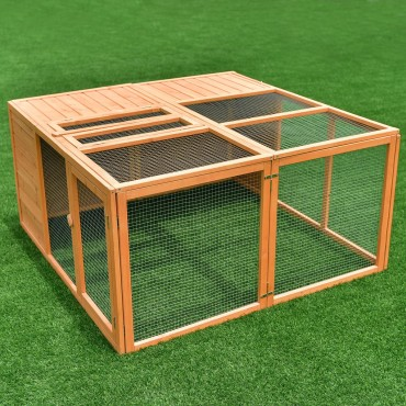 47 In. Wooden Small Animals Cage with Two Doors