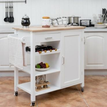 Kitchen Island Trolley Cart Storage Cabinet With Wine Rack And Shelf