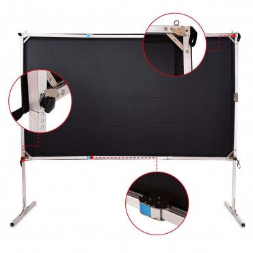 100 In. Standing Portable Fast Folding Projector Screen W / Carry Bag