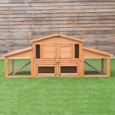 71 In. Outdoor Garden Backyard Large Wooden Chicken Coop
