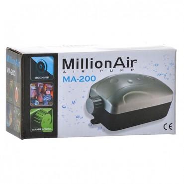 Via Aqua Million Air Pump - MA 200 - 1 Air Outlet - 30 Gallon Tank