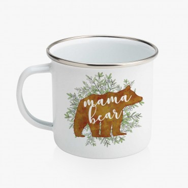 Mama Bear Personalized Enamel Coffee Mug