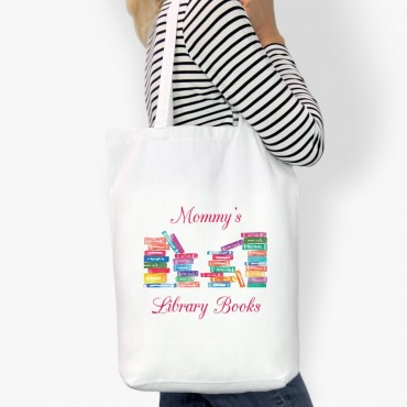 Mommy's Library Books Custom Cotton Tote Bag