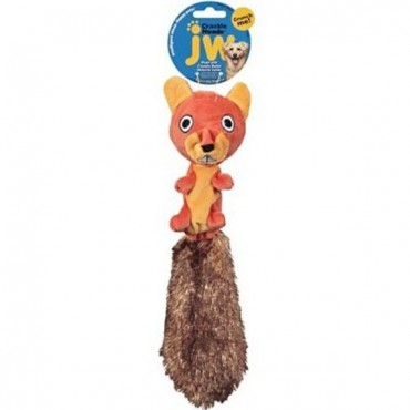 JW Pet Crackle Heads Plush Dog Toy - Skippy Squirrel - Medium - 12 in. Long - 4 Pieces