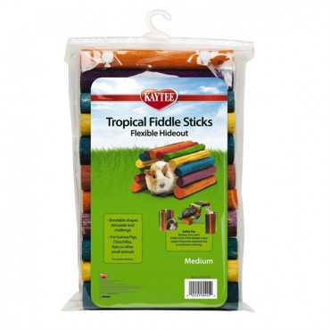 Kaytee Tropical Fiddle Sticks Flexible Hide Out - Medium - 12 in. L x 7 in. W - 2 Pieces