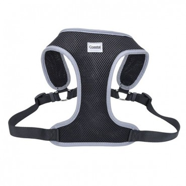 Coastal Pet Comfort Soft Reflective Wrap Adjustable Dog Harness - Black - Medium - 22-28 in. Girth - 3/4 in. Straps