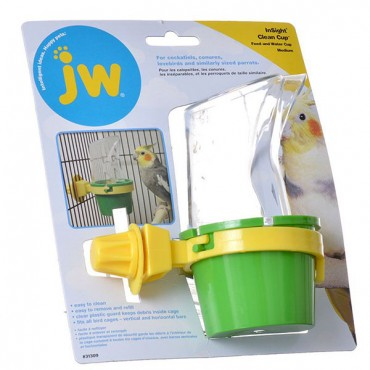 JW Insight Clean Cup Feed and Water Cup - Medium - 3 in. Diameter x 5.5 in. Tall - 2 Pieces