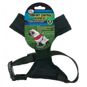Four Paws Comfort Control Harness - Black - Medium - For Dogs 7-10 lbs - 16 in. - 19 in. Chest and 10 in. - 13 in. Neck
