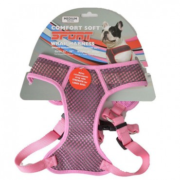 Coastal Pet Sport Wrap Adjustable Harness - Pink - Medium - Girth Size 22 in. - 28 in.