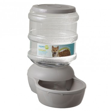 Petmate Le Bistro Gravity Pet Feeder - Gray - Medium - 10 lb Capacity - 14.6L x 8.8W x 14.7H