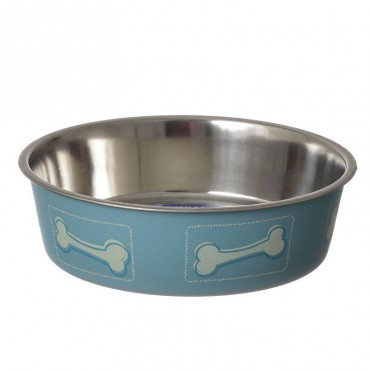 Loving Pets Stainless Steel and Coastal Blue Bella Bowl with Rubber Base - Medium - 2.5 Cups 7D x 2H