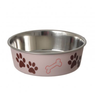 Loving Pets Stainless Steel and Light Pink Dish with Rubber Base - Medium - 6.75 Diameter