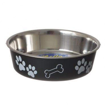 Loving Pets Stainless Steel and Espresso Dish with Rubber Base - Medium - 6.75 Diameter