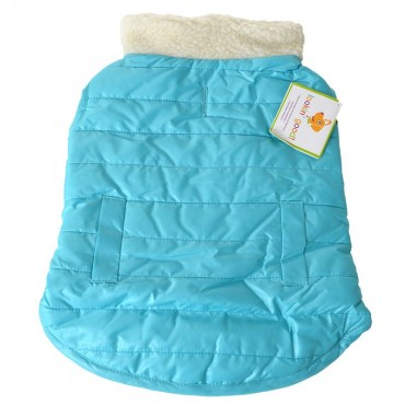 Lookin Good Reversible Puffy Dog Coat - Blue - Medium - Fits 14 -19 Neck to Tail