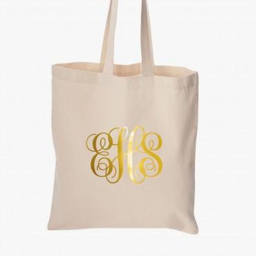 Metallic Monogram Economical Cotton Tote Bag